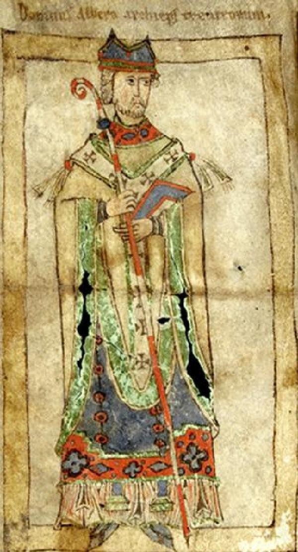 Erzbischof Alberovon Trier, kolorierte Zeichnung, 2. Hälfte12. Jahrhundert