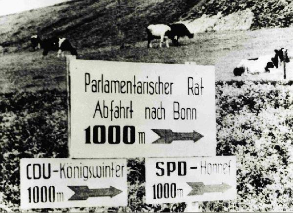 Parlamentarischer Rat 1948: Wegweiser zur Tagungsstätte und den Quartieren