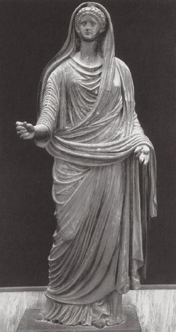Bronzestatue, wohl der jüngeren Agrippina, gefunden im Herkulaneum, Original im Museo Archeologico in Neapel