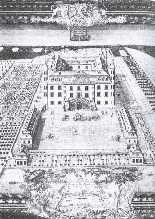 Schloss Bollheim, 1764, Federzeichnung von Capitain Laub, Montjoie (Monschau)