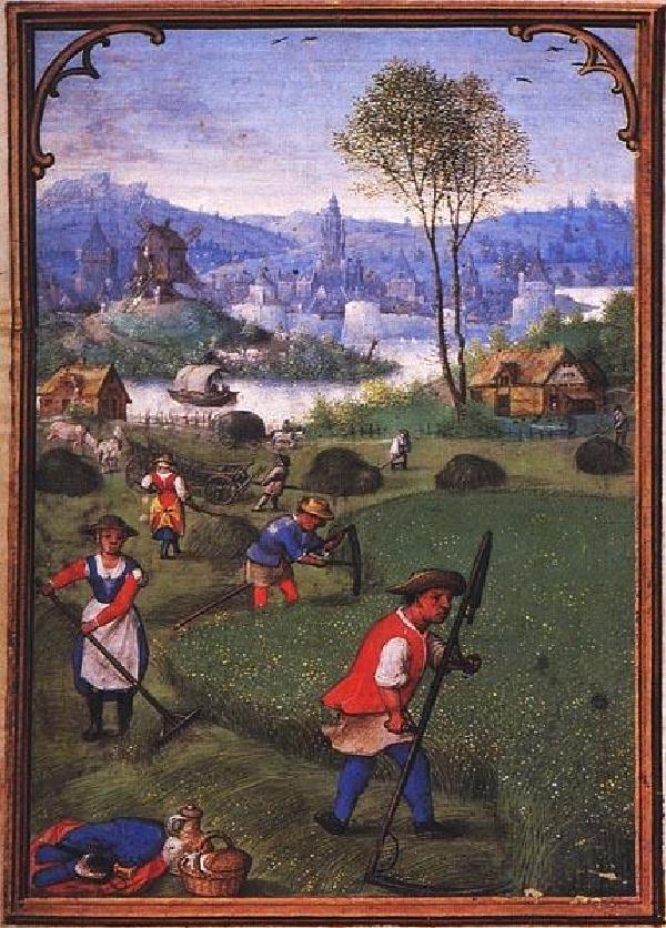 Bauern bei der Heumahd, aus dem Stundenbuch des Simon Bening (um 1483-1561), um 1530, Original in der Staatsbibliothek München, cod. lat. 23638, fol. 8v