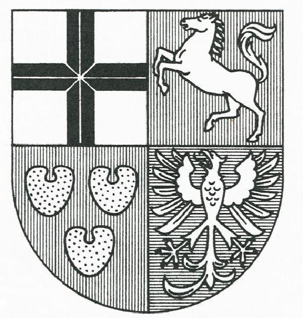 Wappen des Kurfürstentums Köln seit circa 1530. Die vier Felder von links oben im Uhrzeigersinn stehen für das Rheinische Erzstift, Herzogtum Westfalen, Grafschaft Arnsberg, Herzogtum Engern. Das schwarze Kreuz auf weißem (silbernem) Grund, bis zu diesem Zeitpunkt Wappen des ganzen Erzstifts und bis heute des Erzbistums, hier in der seit 1989 für das Erzbistum gebräuchlichen Form