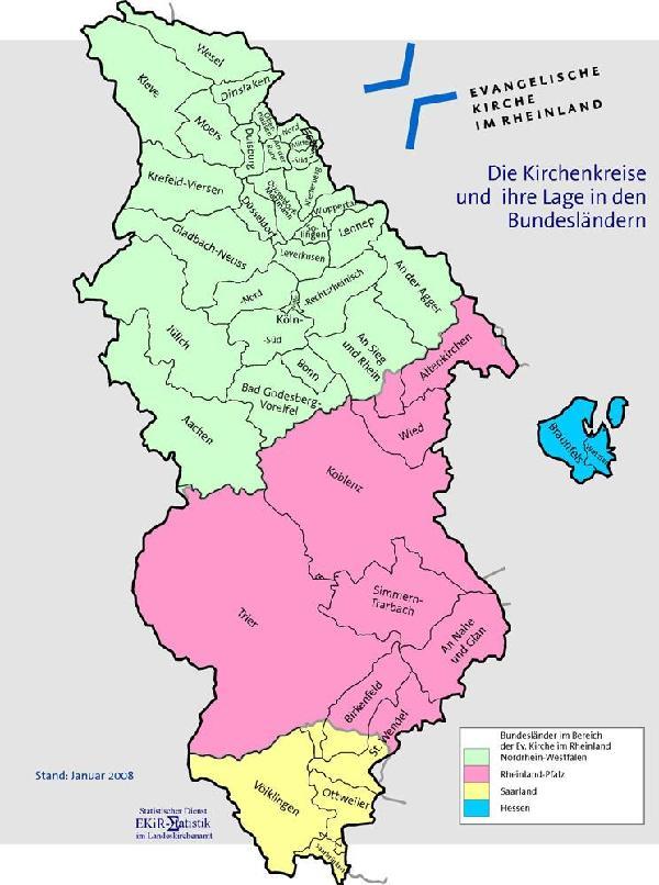 Evangelische Kirche im Rheinland mit Kirchenkreisen und Verteilung nach Bundesländern, 2007