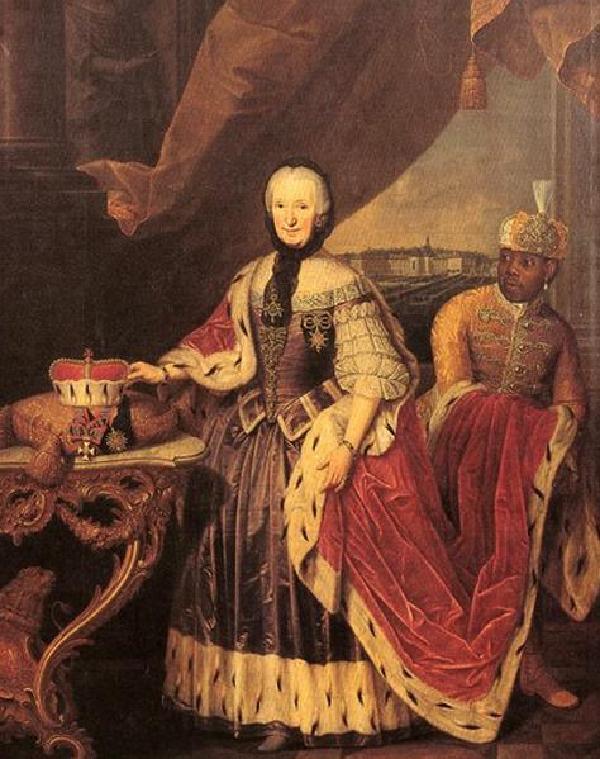 Fürstäbtissin Franziska Christine von Pfalz-Sulzbach mit Kammermohr Ignatius Fortuna, Gemälde von J. Schmitz, um 1770