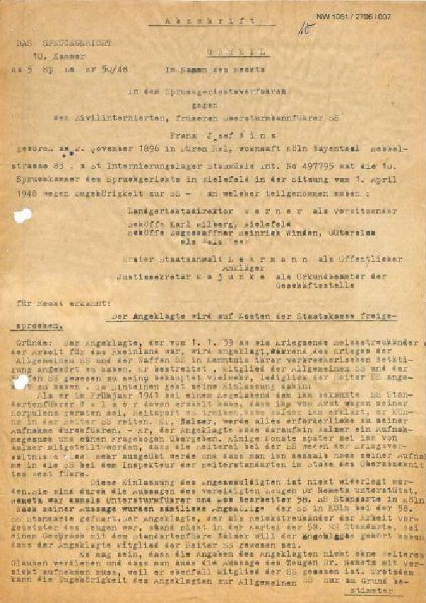 Urteil des Spruchgerichts Bielefeld, April 1948, Das Entnazifizierungsverfahren des NSDAP-Kreisleiters von Schleiden Franz Binz