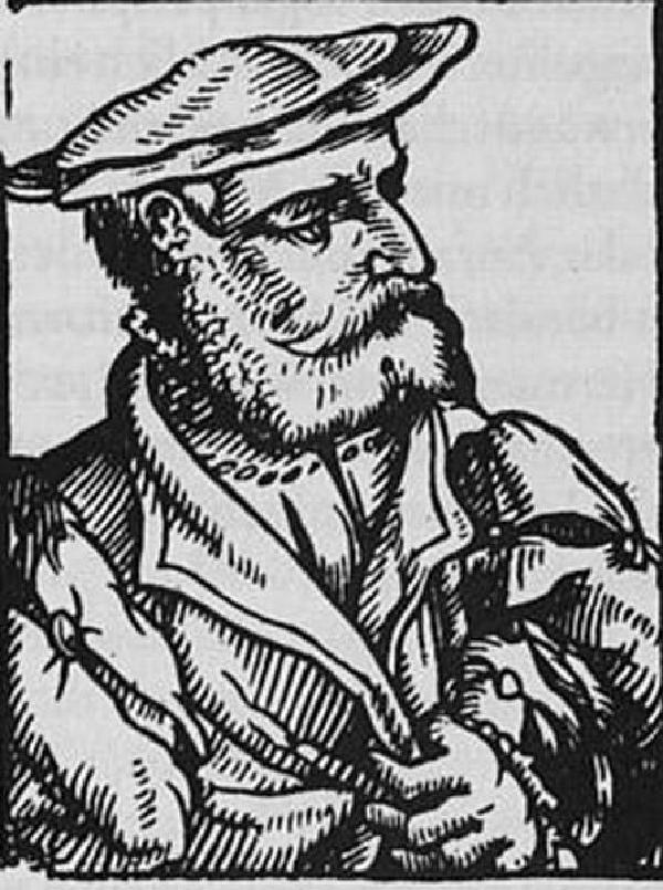 Gisbert Longolius, Holzschnitt aus der 'Prosopographia heroum atque illustrium virorum totius Germaniae' des Heinrich Pantaleon (1522-1595), 1565-66