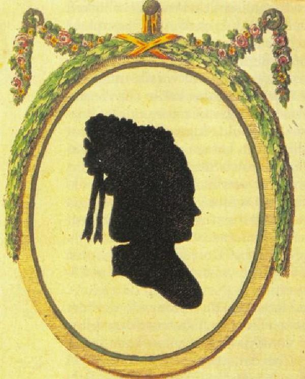 """Sophie von La Roche, nach einem Scherenschnitt in """"Melusinens Sommerabende, 1806"""