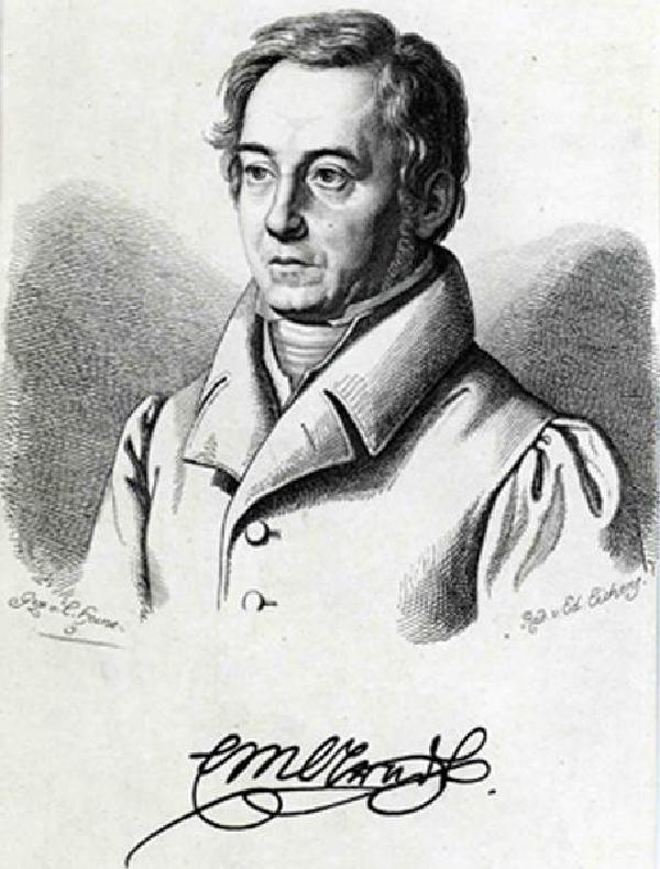 Ernst Moritz Arndt, Porträt mit Signatur