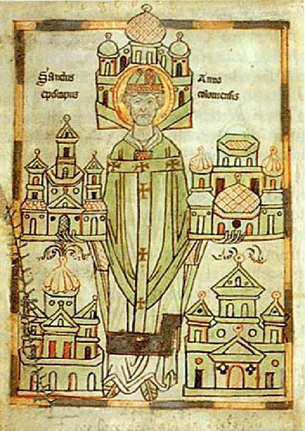 Erzbischof Anno II. von Köln, kolorierte Federzeichnung in der Handschrift der Vita Annonis minor, Siegburg, um 1183. Abgebildet ist Anno II. mit Modellen der von ihm gegründeten fünf Kirchen und Klöster