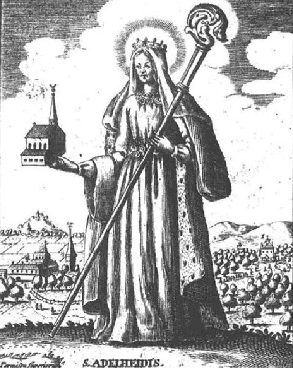 Adelheid von Vilich vor den Wallfahrtsstätten Pützchen undVilich. Original als Kupferstich, hier der Abdruck auf einem Pilgerblatt von1718