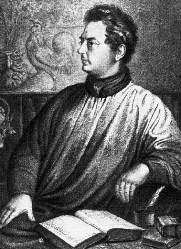 Clemens Brentano, Porträt, Kupferstich von Ludwig Grimm (1790-1863), 1837