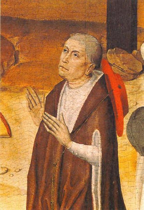 Nikolaus von Kues als Stifterim Passions-Triptychon des Meisters des Marienlebens (um 1460-1490 in Köln tätig), um 1460, Kapelle des St. Nikolaus-Hospitals, Bernkastel-Kues