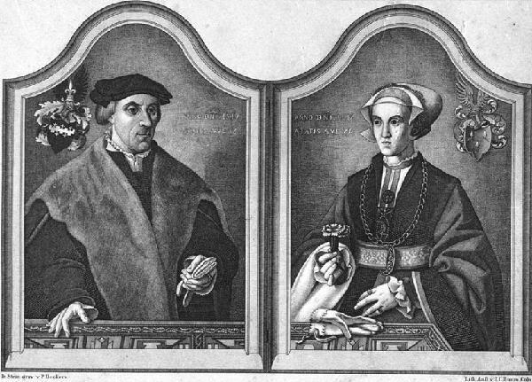 Goddert Hittorp, Porträt auf dem Ehepaardiptychon mit den Bildnissen des Goddert Hittorp und der Gertrud von Bergen. Lithographie um 1850 von Peter Deckers, nach der Steingravur von Bartholomäus Bruyn dem Älteren, 1547