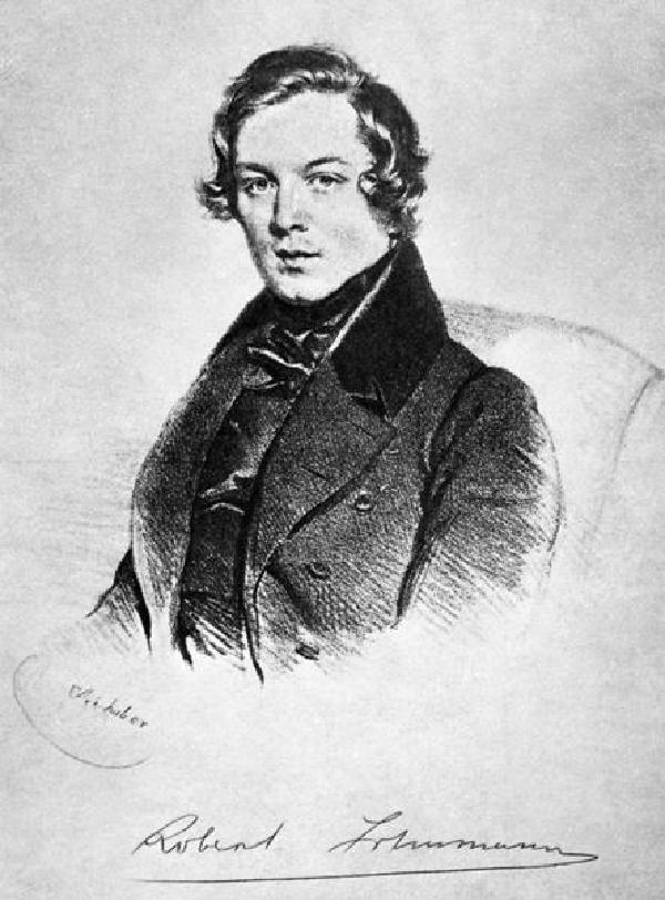 Schumann als Bräutigam, Porträt nach einer Zeichnung von Kriehuber(1800-1876), 1838