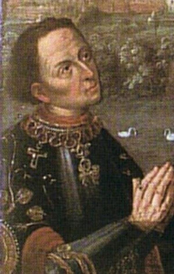 Herzog Adolf von Kleve mit der Ordenskette des Antonius-Ordens 1426, Ausschnitt aus dem so genannten Rathaus-Bild, 17. Jahrhundert