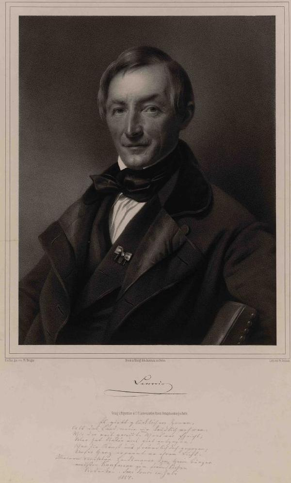 Peter Joseph Lenné, Porträt, Lithographie von Friedrich Jentzen (1815-1901) nach einer Zeichnung von Franz Krüger (1797-1857), 1854