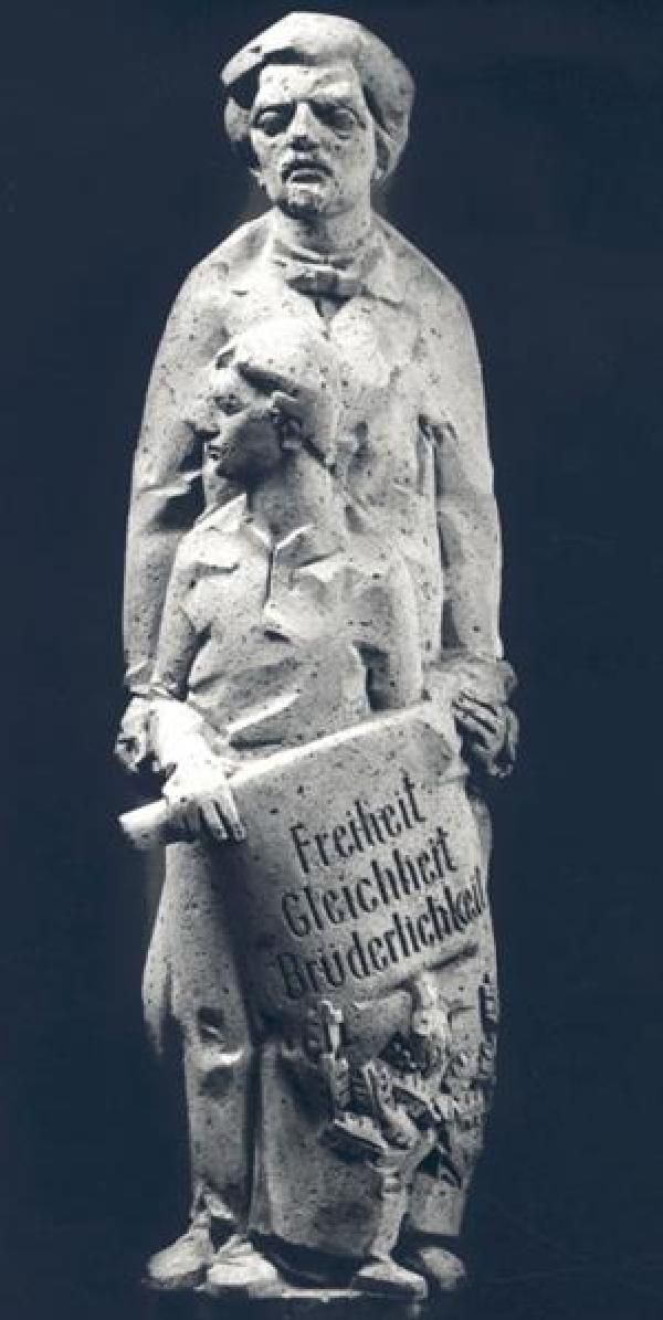 Moses Heß, Skulptur am Kölner Rathausturm, 1992, Bildhauer: Heribert Calleen
