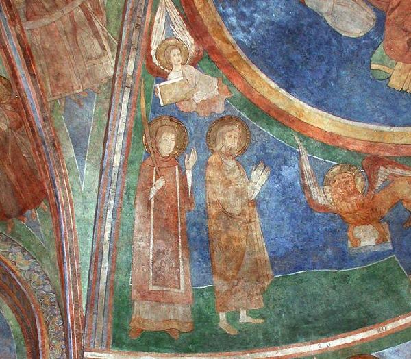 Arnold II. von Wied gemeinsam mit seiner Schwester Hadwig von Wied (circa 1120-1172) auf einem Fresko in der Doppelkirche Schwarzrheindorf