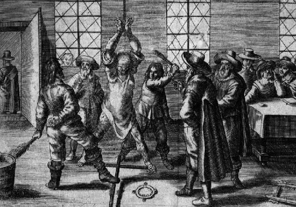 Nicht authentische Darstellung eines Hexenjägers, Kupferstich von Hendrik Bra, 1. Hälfte 17. Jahrhundert
