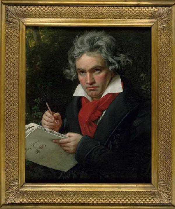 Ludwig van Beethoven mit dem Manuskript der Missa solemnis, Gemälde von Joseph Karl Stieler (1781-1858), 1820