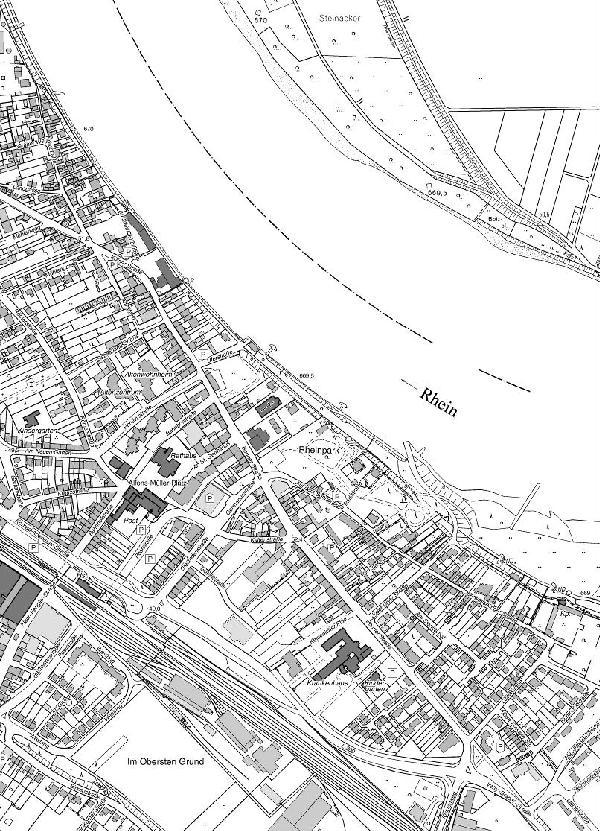 Deutsche Grundkarte der Stadt im Verhältnis 1 : 2500, 2007, Ausschnitt aus dem Blatt Wesseling im Verhältnis 1 : 5000