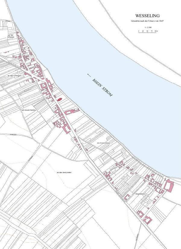 Grundriss der Stadt nach der Katasterkarte von 1847 im Verhältnis 1 : 2500, Entwurf: Esther Weiss, Zeichnung: Martina Schaper