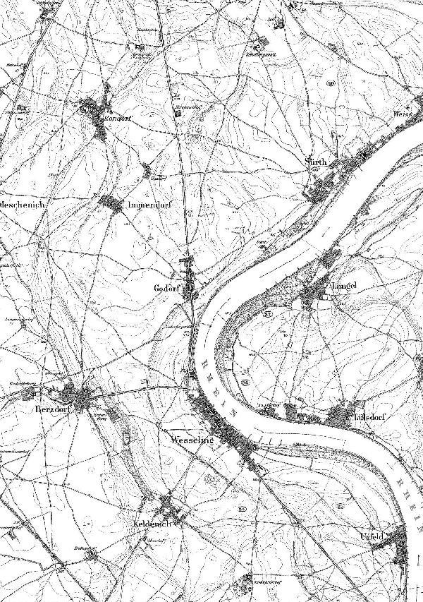Topographische Karte der Stadt von 1892 im Verhältnis 1 : 25000, Zusammensetzung der Blätter 5107 Brühl und 5108 Köln-Porz der Preußischen Kartenaufnahme 1891-1912 (Neuaufnahme)