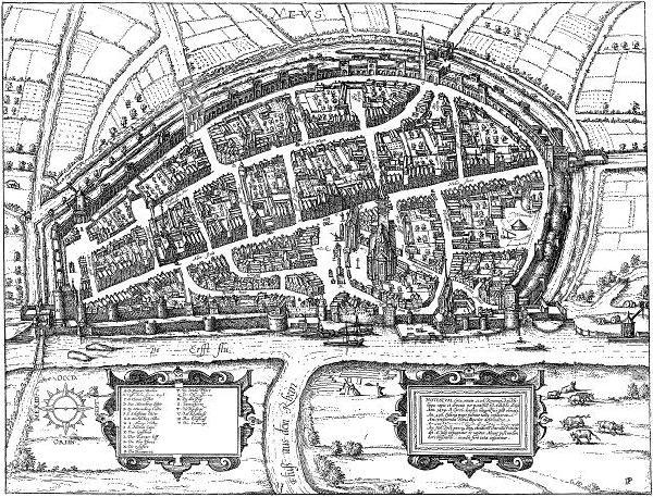 Vogelschauplan Neuss von Osten, vor 1586, Kupferstich von Peter Pannensmit aus dem Städtebuch von Georg Brain und Franz Hogenberg, Bd. IV, Bl. 23, Köln 1590