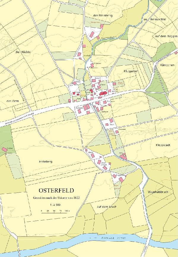 Grundriss Osterfeld nach der Urkarte von 1822 im Verhältnis 1 : 2.500, Entwurf: Esther Weiss, Zeichnung: Regine Binot und Martina Schaper
