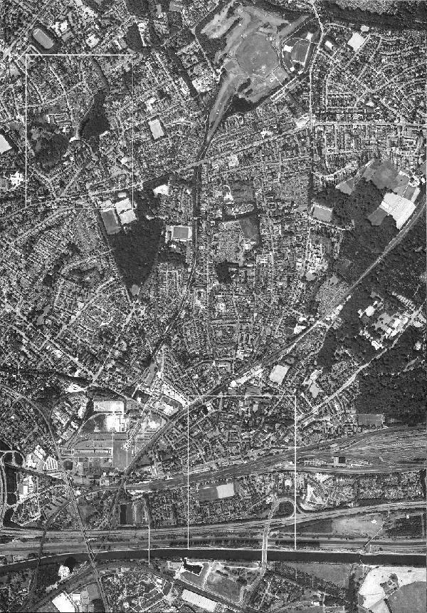 Luftbild Osterfeld von 2005/06 im Verhältnis 1 : 10.000, Zusammensetzung der Orthobilder Klosterhardt, Osterfeld Heide, Osterfeld, Borbek, Vonderort und Fuhlenbrock (Die weißen Rahmen kennzeichnen die Urkartenausschnitte)