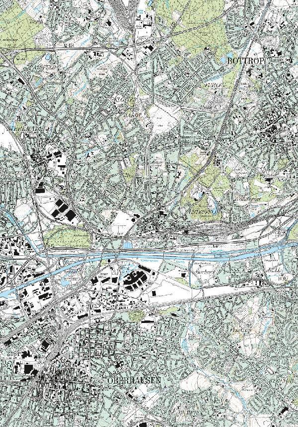 Topographische Karte Osterfeld 2004/05 im Verhältnis 1 : 25.000, Zusammensetzung der Blätter 4507 Mülheim a.d.R. und 4407 Bottrop der Topographischen Karte im Verhältnis 1 : 25.000