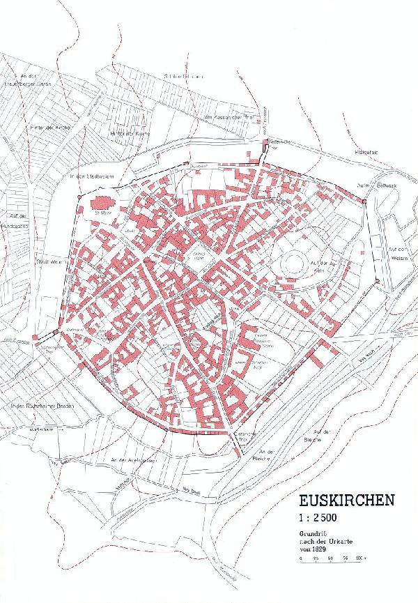 Grundriss Euskirchen nach der Urkarte von 1829 im Verhältnis 1 : 2.500