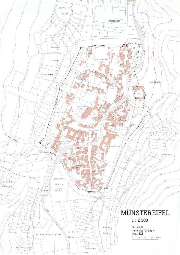 Grundriss der Stadt Münstereifel nach der Urkarte von 1823 im Verhältnis 1 : 2.500