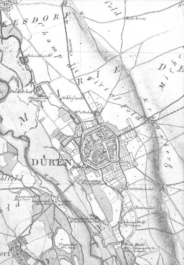 Düren und Umgebung von 1805/06 im Verhältnis 1 : 10.000, Ausschnitt des Blattes Düren der topographischen Aufnahme der Rheinlande durch Tranchot und v. Müffling 1803-1820