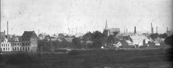 """Fotographie """"Frechen vor 1909"""", Ortsansicht von Südwesten, Ausschnittvergrößerung"""