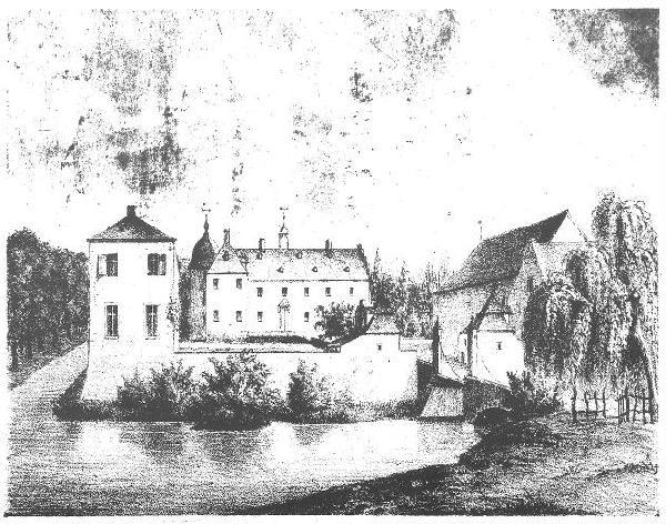 Haus Bachem bei Frechen, 1830, gezeichnet von C. Beckers, Lithographie von J.C. Baum